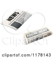 Clipart Of Two Newspapers Royalty Free Vector Illustration