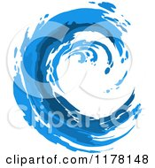 Clipart Of A Blue Painted Curling Wave Royalty Free Vector Illustration by Vector Tradition SM