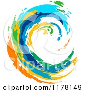 Clipart Of A Colorful Painted Curling Wave Royalty Free Vector Illustration by Vector Tradition SM