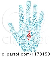Clipart Of A Hand Of Blue Music Notes With A Red Clef In The Center Royalty Free Vector Illustration by Vector Tradition SM