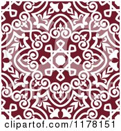 Clipart Of A Seamless Maroon And White Arabic Floral Pattern Royalty Free Vector Illustration