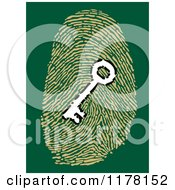 Clipart Of A White Key In A Fingerprint On Green Royalty Free Vector Illustration