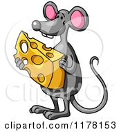 Cartoon Of A Happy Gray Mouse Holding Cheese Royalty Free Vector Clipart
