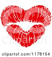 Clipart Of Red Puckered Lips In The Shape Of A Heart Royalty Free Vector Illustration