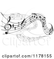Clipart Of Grayscale Flowing Music Notes Royalty Free Vector Illustration by Vector Tradition SM