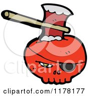 Cartoon Of Red Skull With An Eyepatch And Ax Royalty Free Vector Illustration