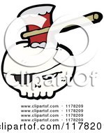 Cartoon Of Skull With An Eyepatch And An Ax Royalty Free Vector Illustration