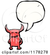Cartoon Of A Red Demon With A Conversation Bubble Royalty Free Vector Illustration