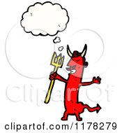 Cartoon Of A Red Demon With A Pitchfork And A Conversation Bubble Royalty Free Vector Illustration