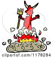 Cartoon Of A Red Devil With A Pitchfork And Flames Royalty Free Vector Illustration by lineartestpilot