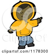 Cartoon Of An African American Boy Wearing A Hoodie Royalty Free Vector Illustration
