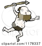 Cartoon Of A Caveman Holding A Spear Royalty Free Vector Illustration by lineartestpilot