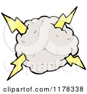Cartoon Of A Cloud With A Lightning Bolt Royalty Free Vector Illustration