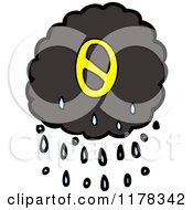 Cartoon Of A Raincloud With The Number 0 Royalty Free Vector Illustration