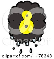 Cartoon Of A Raincloud With The Number 8 Royalty Free Vector Illustration