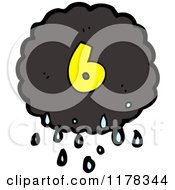 Cartoon Of A Raincloud With The Number 6 Royalty Free Vector Illustration