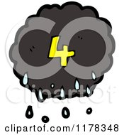 Cartoon Of A Raincloud With The Number 4 Royalty Free Vector Illustration