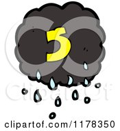 Cartoon Of A Raincloud With The Number 5 Royalty Free Vector Illustration