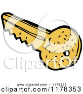 Cartoon Of A Golden Key Royalty Free Vector Illustration by lineartestpilot