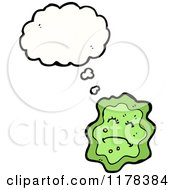 Cartoon Of A Green Microbe With A Conversation Bubble Royalty Free Vector Illustration