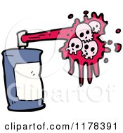 Cartoon Of A Spray Paint Can With Pink Skull Paint Royalty Free Vector Illustration