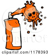 Cartoon Of A Spray Paint Can With Orange Skull Paint Royalty Free Vector Illustration