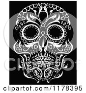 Clip Art Of A Flowered Day Of The Dead Skull Royalty Free Vector Illustration by lineartestpilot #COLLC1178395-0180