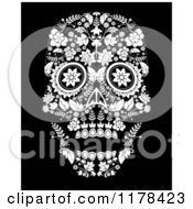 Clip Art Of A Flowered Day Of The Dead Skull Royalty Free Vector Illustration