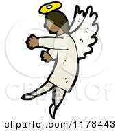 Cartoon Of An African American Angel In The Clouds Royalty Free Vector Illustration