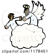 Cartoon Of African American Angels In The Clouds Royalty Free Vector Illustration