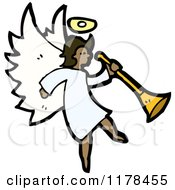 Cartoon Of An African American Angel Royalty Free Vector Illustration by lineartestpilot