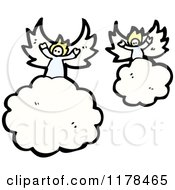 Cartoon Of Angels In The Clouds Royalty Free Vector Illustration