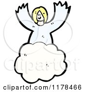 Cartoon Of An Angel In The Clouds Royalty Free Vector Illustration