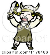 Cartoon Of A Viking Woman Singing Opera Royalty Free Vector Illustration