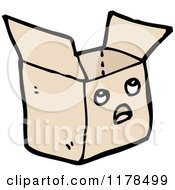 Cartoon Of An Open Brown Wrapped Package Royalty Free Vector Illustration by lineartestpilot