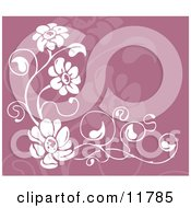 Purple And White Floral Background Clipart Illustration