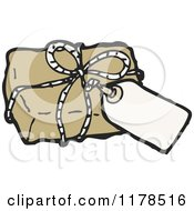 Cartoon Of A Brown Wrapped Package With A Tag Royalty Free Vector Illustration by lineartestpilot