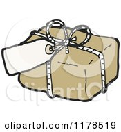 Cartoon Of A Brown Wrapped Package With A Tag Royalty Free Vector Illustration