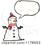 Cartoon Of A Snowman With A Conversation Bubble Royalty Free Vector Illustration