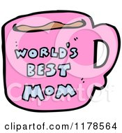 Cartoon Of A Worlds Best Mom Mug Royalty Free Vector Illustration by lineartestpilot