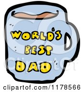 Cartoon Of A Worlds Best Dad Mug Royalty Free Vector Illustration by lineartestpilot