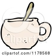 Cartoon Of A Coffee Mug With A Spoon Royalty Free Vector Illustration by lineartestpilot