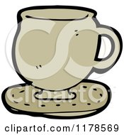 Cartoon Of A Coffee Mug On A Saucer Royalty Free Vector Illustration by lineartestpilot