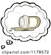 Cartoon Of A Spilled Styrofoam Coffee Cup In A Conversation Bubble Royalty Free Vector Illustration