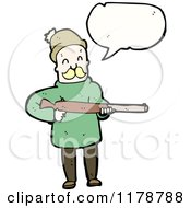 Cartoon Of A Man Holding A Rifle With A Conversation Bubble Royalty Free Vector Illustration by lineartestpilot