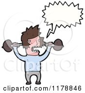 Cartoon Of A Man With Barbells And A Conversation Bubble Royalty Free Vector Illustration