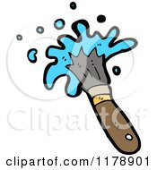 Cartoon Of A Paint Brush With Blue Paint Royalty Free Vector Illustration by lineartestpilot
