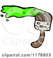 Cartoon Of A Paint Brush With Green Paint Royalty Free Vector Illustration by lineartestpilot