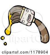 Cartoon Of A Paint Brush With Yellow Paint Royalty Free Vector Illustration by lineartestpilot