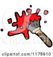 Cartoon Of A Paintbrush With Paint Royalty Free Vector Illustration by lineartestpilot